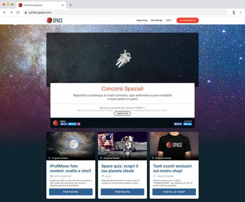 Loyalty portal landing page concorsi a premi
