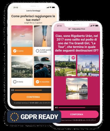 mockup up esempio della landing page per mobile del concorso sondaggi