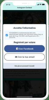 facebook login e accettazione dell'informativa