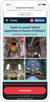 domande e risposte nella landing page da mobile di instant trivia quiz